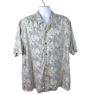 Tommy Bahama 100% Silk Gray/Cream Camp Shirt, XL